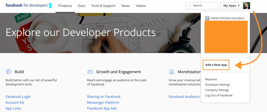 Facebook developers app